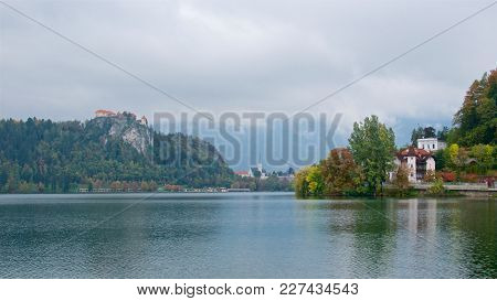 Landscape With Houses And Bled Castle Surrounding Bled Lake In Slovenia