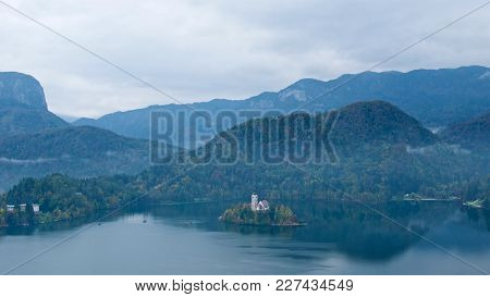 Overview Of Bled Island On Bled Lake In Slovenia
