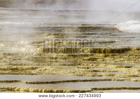 Steam On Terraces At Mammoth Hot Springs, Yellowstone National Park, Wyoming