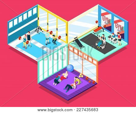Gym Isometric Design Concept With People And Their Personal Sport Trainers Working Indoor Vector Ill