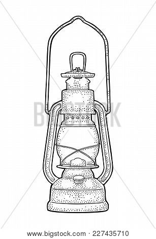 Antique Retro Gas Lamp. Vintage Black Engraving Illustration For Poster, Web. Isolated On White Back