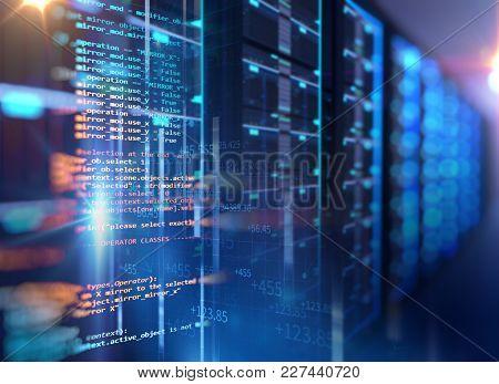 Server Room 3d Illustration With Programming Data  Design Element.,concept Of Big Data Storage And
