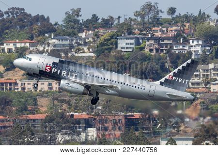 San Diego, California, Usa - May 2, 2013. Spirit Airlines Airbus A319-132 N530nk  Departing San Dieg