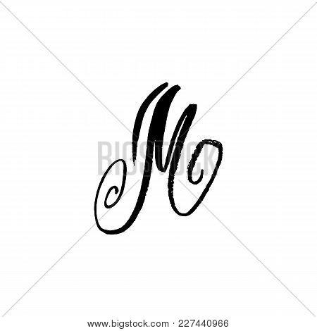 Letter M. Handwritten By Dry Brush. Rough Strokes Textured Font. Vector Illustration. Grunge Style E