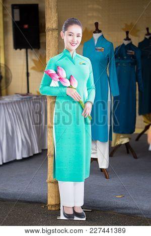 Hanoi, Vietnam - Oct 15, 2016: Vietnam Airlines Air Hostess Mannequin Wearing Uniform At Ao Dai Fest