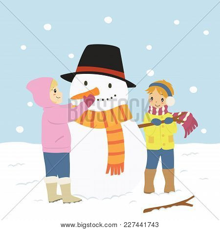 Happy Boy And Girl Building Snowman On Winter Day. Winter Holiday Cartoon Vector