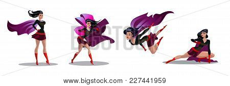Comic Superwoman Actions In Different Poses. Female Superhero Vector Cartoon Characters. Illustratio