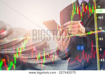 Business Man On Stock Market Financial Trade Indicator Background. Man Analysis Stock Market Financi