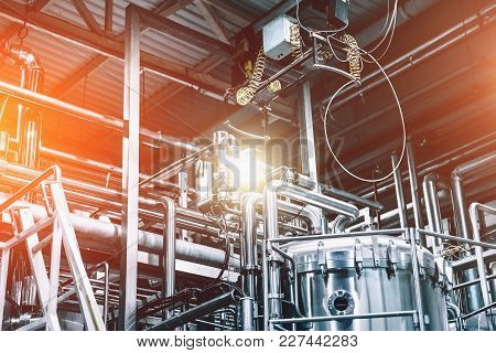 Industrial Factory, Steel Pipelines, Tubes At Brewery Production. Abstract Industrial Background, Bl