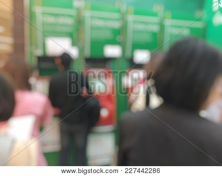 Blurred Image Of People In Bank Counter, Urban Lifestyle Concept.