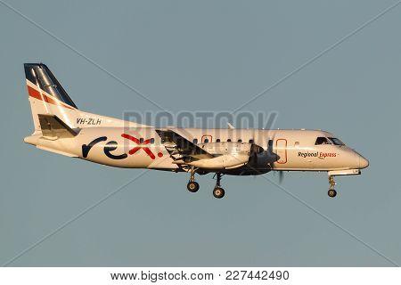 Melbourne, Australia - November 10, 2011: Regional Express (rex) Airlines Saab 340b Vh-zlh On Approa