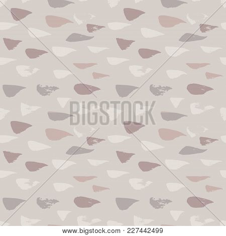 Grunge Beige Dry Brush Seamless Pattern. Abstract Strokes Background. Nude Hand Drawn Texture. Moder