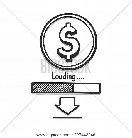 Doodle Hand Draw Finance Is About E-money Loading Concept. Vector Illustration.
