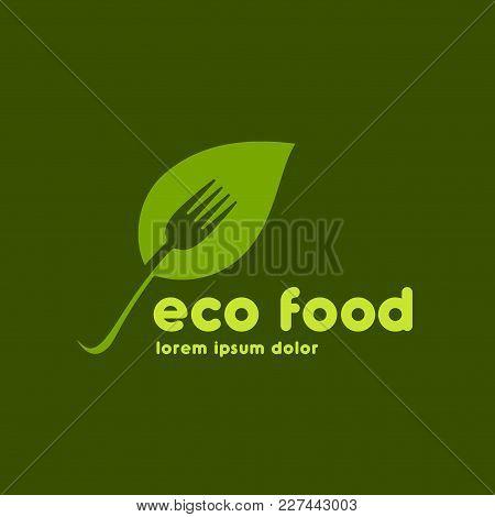 Vegetarian Cafe Logo Design. Vegan Restaurant Logo Template. Organic Cafe Logo Concept.