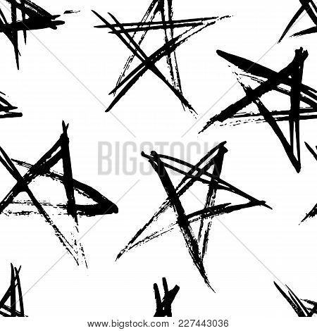 Hand Drawn Grunge Stars Seamless Pattern. Modern Ink Background. Dry Brush Print With Stars For Deco
