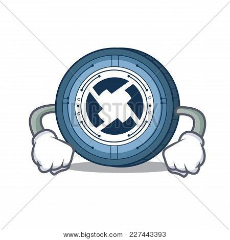Angry 0x Coin Mascot Cartoon Vector Illustration