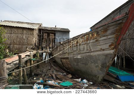 Ca Mau, Vietnam - Dec 6, 2016: Old Aged Wooden Ship In Ngoc Hien, Ca Mau District, Vietnam