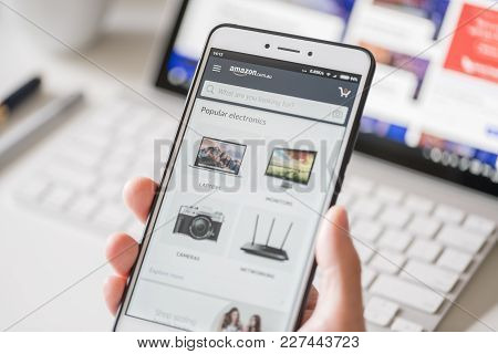 Melbourne, Australia - Feb 2, 2018: Browsing The Amazon Online Shopping Store On A Smartphone. Amazo