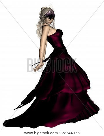 Woman in Venetian Carnival Mask and Ball Gown
