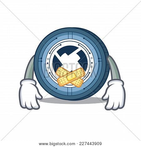 Silent 0x Coin Mascot Cartoon Vector Illustration