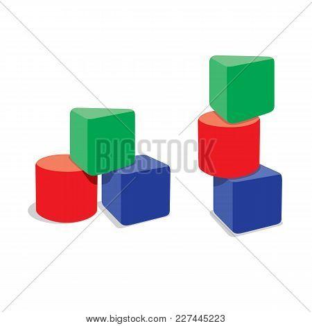 3 Blocks Building. Creative Toy Blocks. Illustration Isolated On White Background.