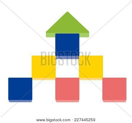 Arrow Up Shape Of Stack Blocks, Creative Toy Blocks. Vector Illustration Isolated On White Backgroun