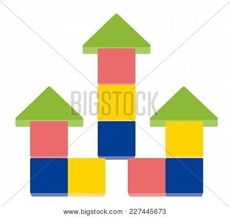 Arrow Up Shape Of Stack Blocks,  Creative Toy Blocks. Vector Illustration Isolated On White Backgrou