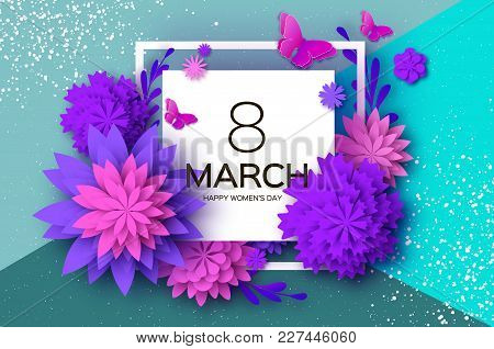 Ultra Violet Pink Paper Cut Flower. Butterfly. 8 March. Womens Day Greetings Card. Origami Floral Bo