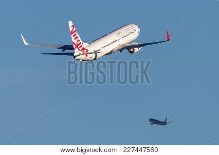 Sydney, Australia - May 5, 2014: Virgin Australia Airlines Boeing 737-800 Aircraft Departing Sydney