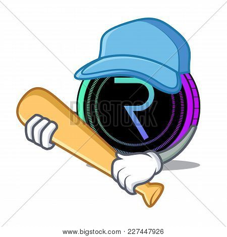 Playing Baseball Request Network Coin Character Cartoon Vector Illustration