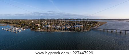 180 degree aerial panorama of Beaufort, South Carolina.