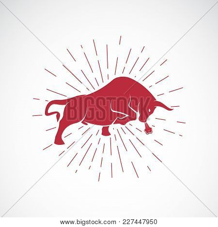 Vector Of An Angry Bull On White Background. Animal. Bull Symbol. Vector Illustration For Advertisin