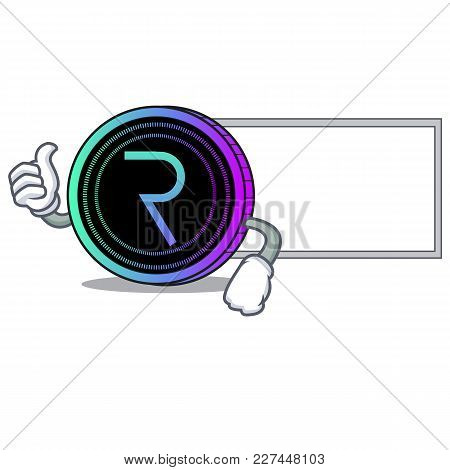 Thumbs Up With Board Request Network Coin Character Cartoon Vector Illustration