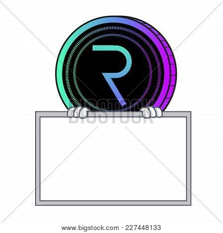 With Board Request Network Coin Character Cartoon Vector Illustration