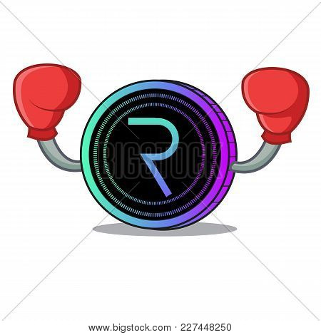 Boxing Request Network Coin Character Cartoon Vector Illustration