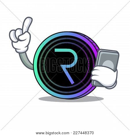With Phone Request Network Coin Character Cartoon Vector Illustration