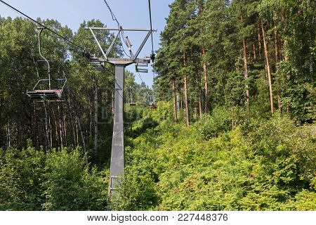 Cableway In The Summer In Belokurikha In The Altai Krai