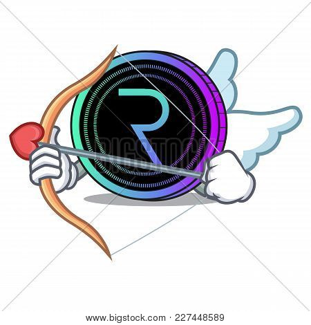 Cupid Request Network Coin Character Cartoon Vector Illustration