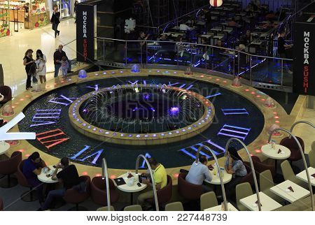 Moscow, Russia - August 24, 2013: Fountain In The Form Of Clocks In The Shopping And Entertainment C