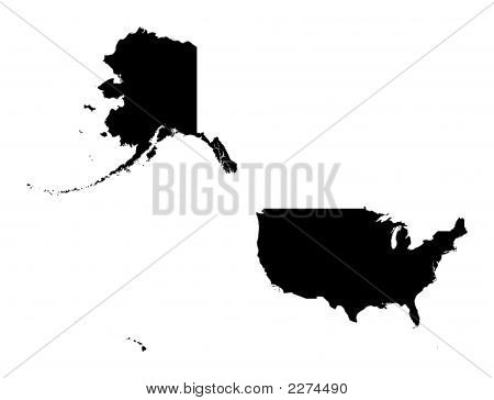 Detailed Isolated Map Of United States