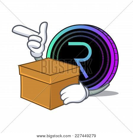 With Box Request Network Coin Character Cartoon Vector Illustration
