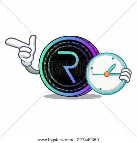 With Clock Request Network Coin Character Cartoon Vector Illustration