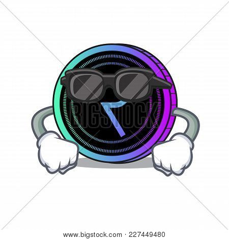 Super Cool Request Network Coin Character Cartoon Vector Illustration