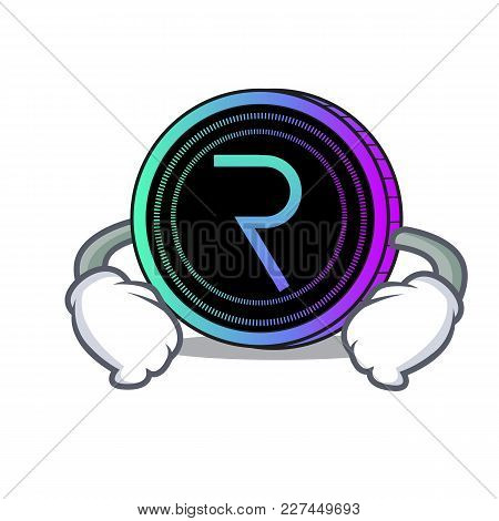 Hand On Waist Request Network Coin Character Cartoon Vector Illustration