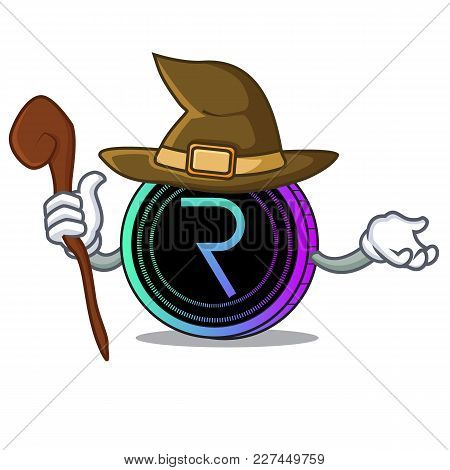 Witch Request Network Coin Mascot Cartoon Vector Illustration