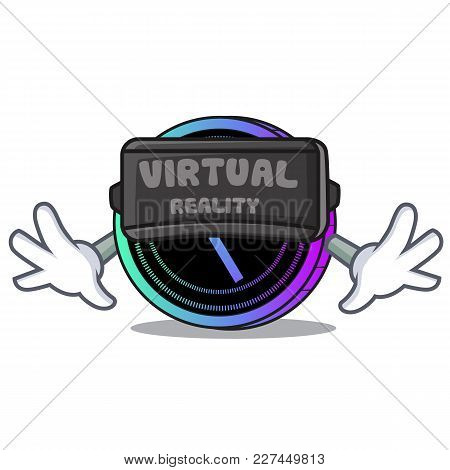 With Vitual Reality Request Network Coin Mascot Cartoon Vector Illustration