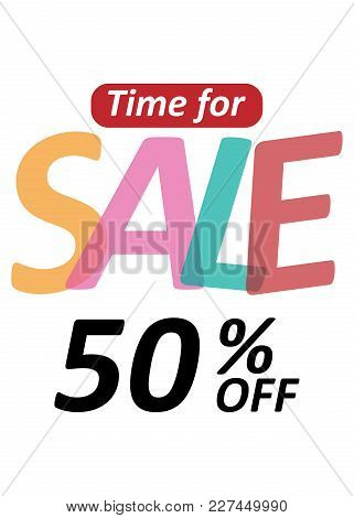 Banner Time For Sale 50% Off Vector Image