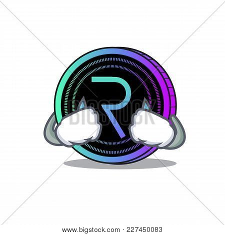 Crying Request Network Coin Mascot Cartoon Vector Illustration