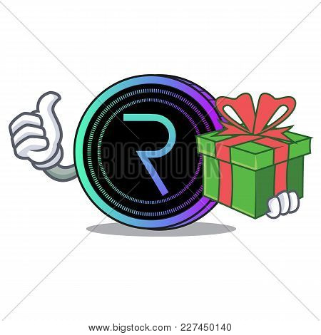 With Gift Request Network Coin Mascot Cartoon Vector Illustration