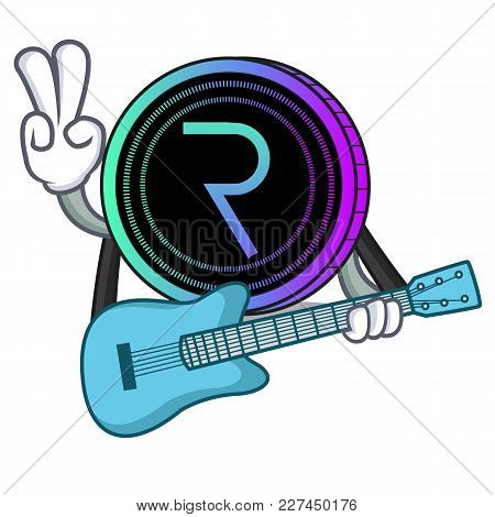 With Guitar Request Network Coin Mascot Cartoon Vector Illustration